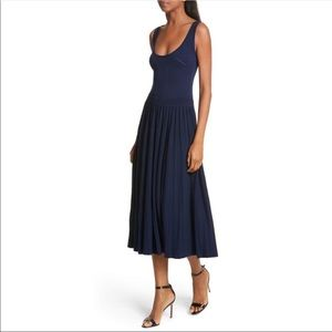 Milly Ballet Neck Midi Pleated Dress Navy M